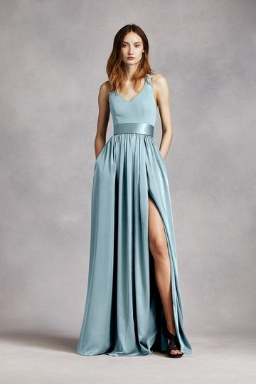White by Vera Wang Style VW360195You will look alluring in this elegant crepe gown! Sleeveless...
