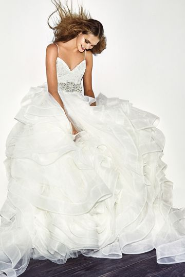White by Vera Wang Style VW351371 SS  Organza ball gown with V-neckline, spaghetti straps,...