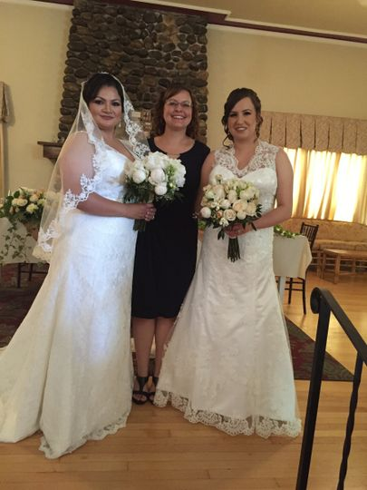Officiant and the brides
