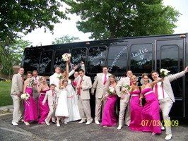 Limo bus with wedding party