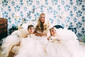 Bride with the flower girls