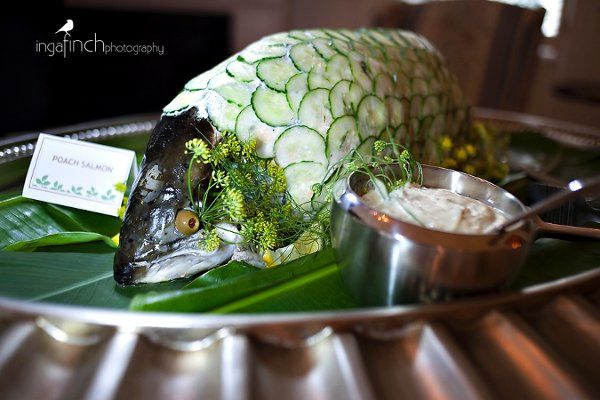 Whole Poached Salmon with Cucumber Scales  Photo Courtsey of: Inga Finch Photography