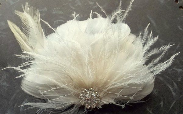 """""""kate"""" bridal feather fascinator made from ivory feathers, french netting, rhinestones"""