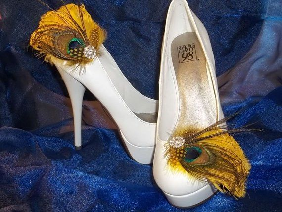 Peacock and yellow feathered bridal shoe clips