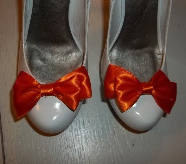 New 2012 bridla color Tangerine Tango Orange shoe clips satin bows