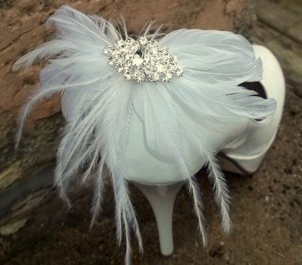 Bridal shoe clips feathered shoe clips navette rhinestones