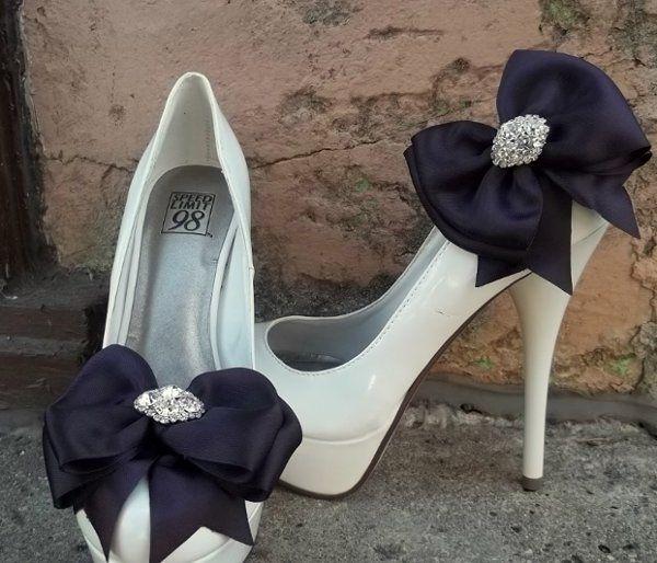 Deep purple eggplant satin bow bridal shoe clips