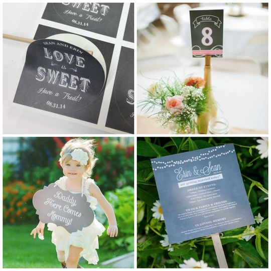 Custom labels, table numbers, flower girl sign and fan ceremony programs.