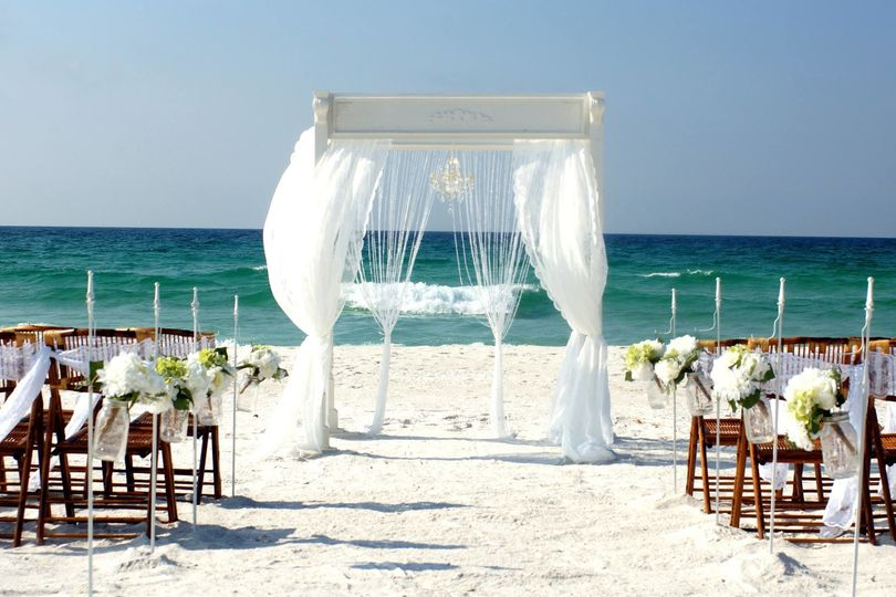 Southern Charm Wedding Package set up on Pensacola Beach