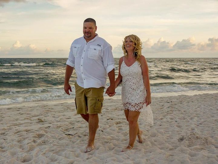 Newlyweds at the beach