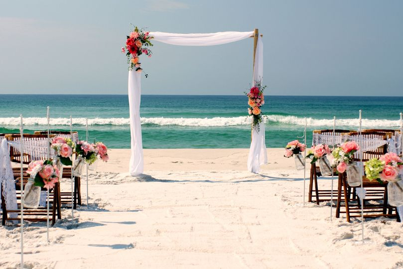 Island Girl Deluxe beach wedding package in Sunset colors