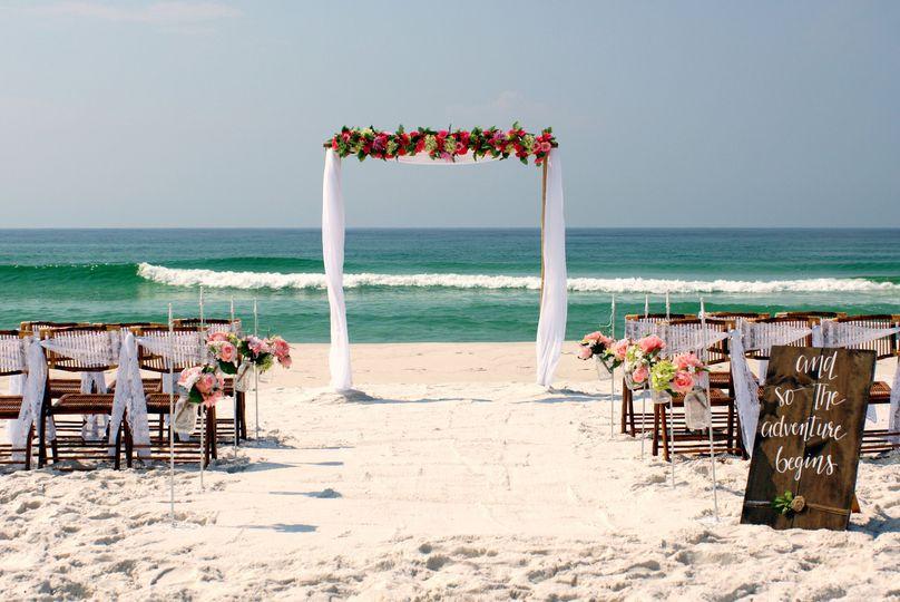 Sandbar beach wedding package in Sunset colors