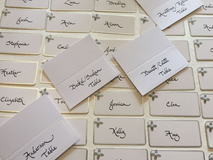 silver flower place cards