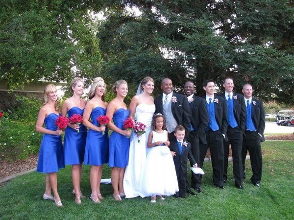 The couple and attendants line-up