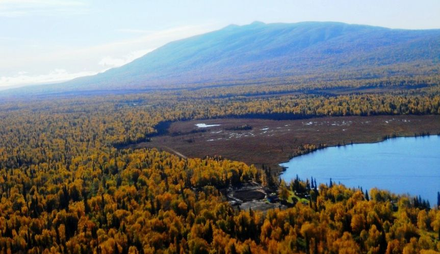 "EagleSong Farm on the shores of Trail Lake, Alaska with Mt. Susitna or as locals call her ""Sleeping..."