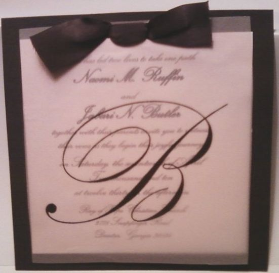 Butler invite - Pink and Brown with Vellum and Ribbon