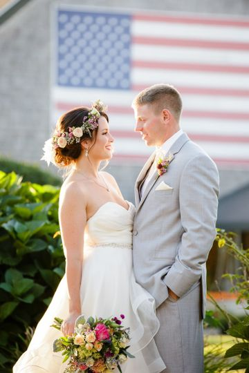 A radiant bride and groom