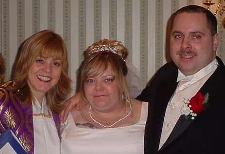 The happy couple with friends