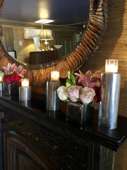 Candle and flower decor