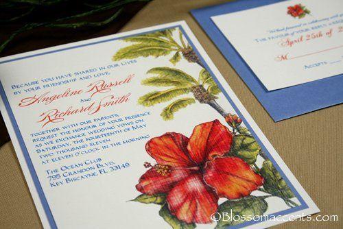 Tropical Hibiscus Wedding Invitation Suite