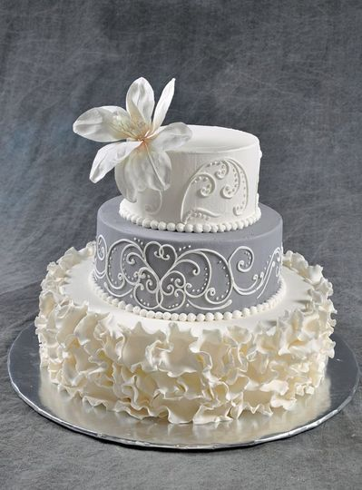 Textured white cake with grey middle