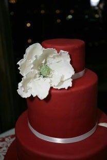 Three tier red cake