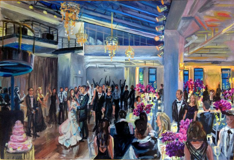 """Wedding reception at the Tribeca Rooftop, NYC, 24"""" X 36"""""""