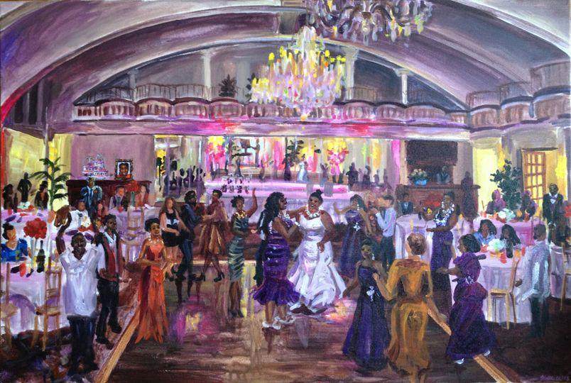 "Same sex wedding reception at the Alhambra Ballroom, Harlem NYC, 24"" X 36"""