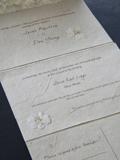 Eco-friendly invitation created with handmade paper.