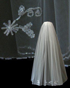 Fingertip length, 1-tier, Classic Bridal Veil with Crystal beaded edge and crystal beaded floral...