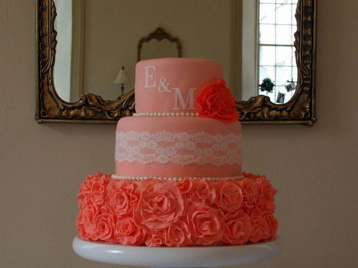 Tmx 1451261340481 Coral Ruffles Wells wedding cake