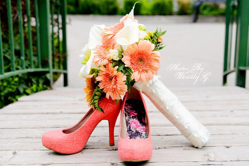 Wedding shoe and boquet