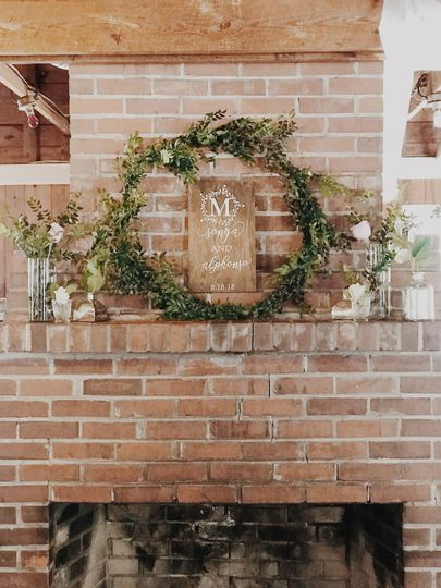 Custom made sign and greenery wreath