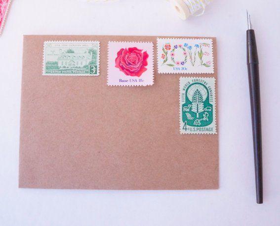 Custom vintage postage stamp set in green