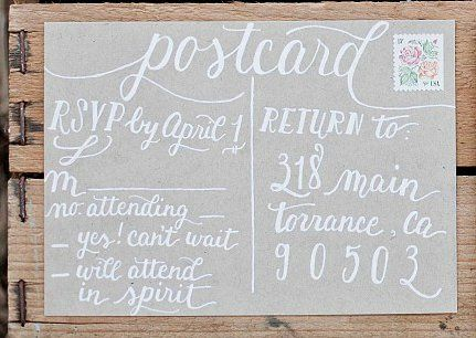 A new postcard-style reply cards with white ink on kraft  (Photo courtesy of Retrospect Images)