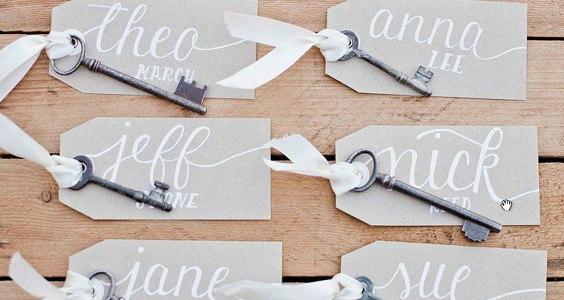 Just a closer look...  Skeleton key escort cards in the Megan suite with white ink on kraft.  (Photo...