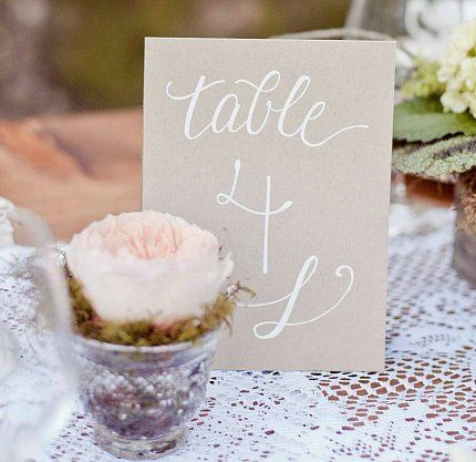 Simple, but lovely table numbers with white ink on kraft paper  (Photo courtesy of Retrospect...