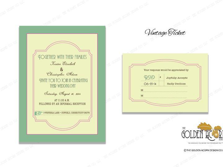 Tmx Online Gallery Vintage Ticket 51 777866 158576250315854 Yantic, CT wedding invitation