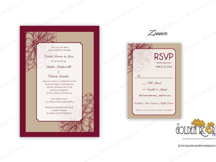 Tmx Online Gallery Zinnia 51 777866 158576250452077 Yantic, CT wedding invitation