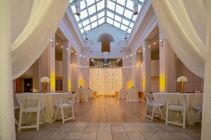 Atrium with string lights