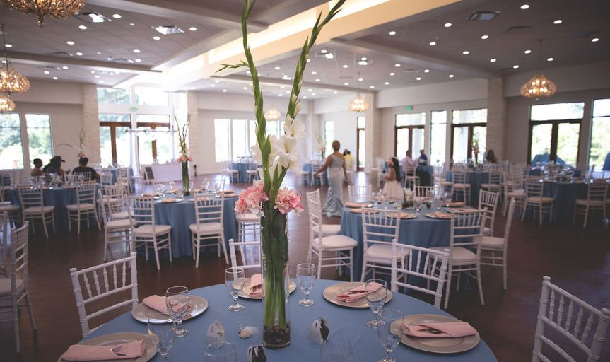 Reception hall in blue hues