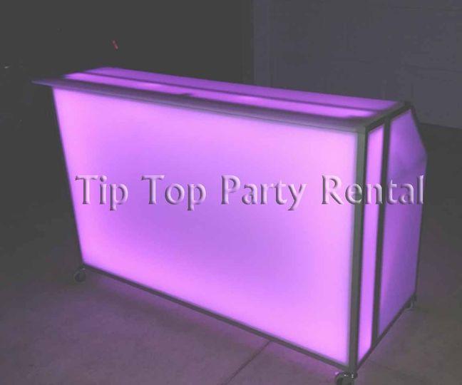 6ft. Illuminated Acrylic Bar incl. remote control, ice bin, garnish trays, speed rail