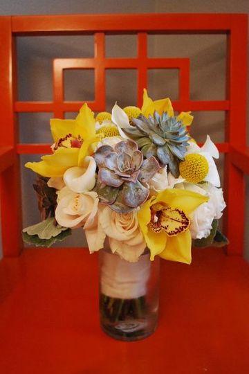 Succulent orchid bouquet