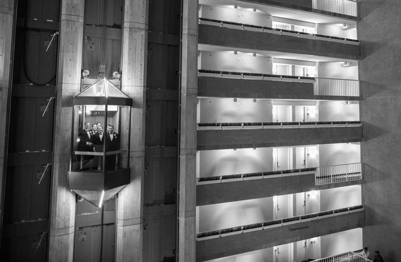 Glass elevator in black and white