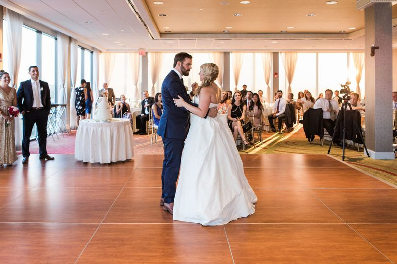 Couple's first dance in Charles View Ballroom