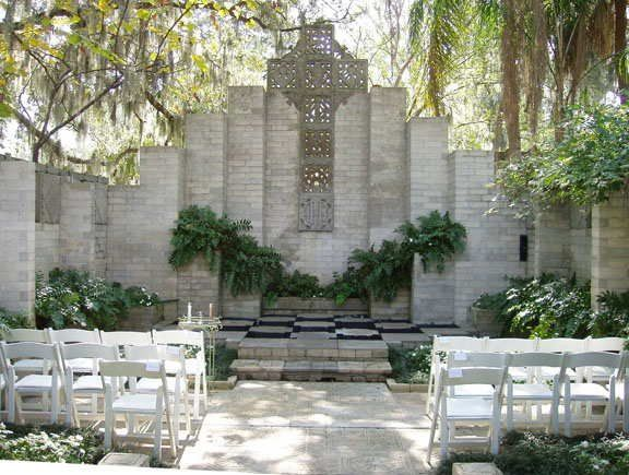 Chapel side of Chapel and Mayan Courtyard