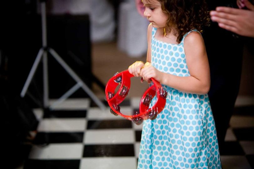 Little girl with a tambourine