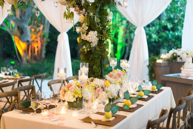 Table set-up with candle and flower centerpiece