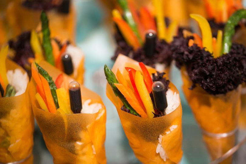 Stationary appetizer station. Vegetarian hand roll