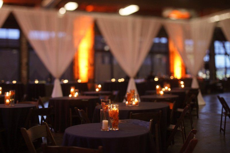 Table setup with candle centerpieces